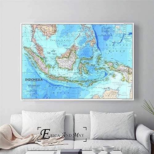 ganlanshu Mapa de Alta definición póster Grande e impresión Mural decoración Pintura sobre Lienzo Sala de Estar decoración del hogar,Pintura sin marco-60X90cm