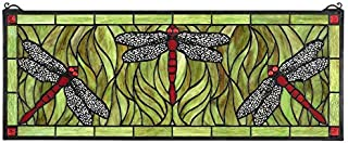 Design Toscano Emerald Green Dragonfly Tiffany-Style Stained Glass Window, Full Color
