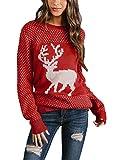 Asvive renna maglione da donna a maniche lunghe motivo innevato girocollo
