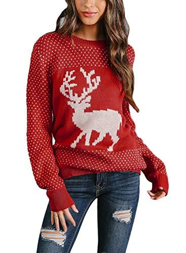 Sidefeel Women Christmas Pullover Sweater Cute Reindeer Jumper Medium Red
