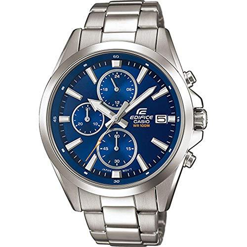 Casio EDIFICE Reloj en caja sólida, 10 BAR, Azul, para Hombre, con Correa de Acero inoxidable, EFV-560D-2AVUEF
