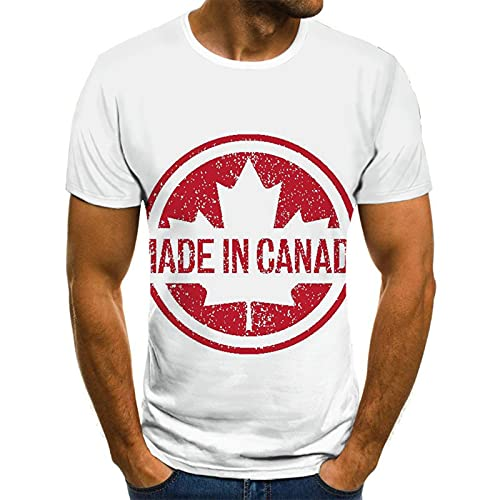 Camiseta Canadiense De Hoja De Arce 3D para Hombre Camiseta De Manga Corta De Cobertura Informal De Verano Unisex (Color : White 1, Talla : XXXXXX-Large)