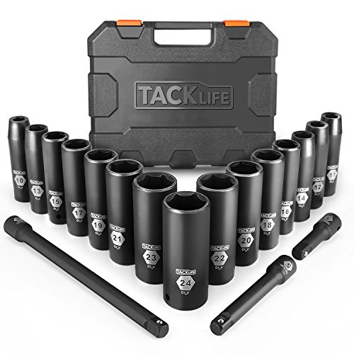 TACKLIFE Drive Impact Socket Set, 18pcs 1/2-inch Drive Deep Impact Socket Set, 6 Point, 10-24mm, 15pcs Metric Sockets with 3pcs 1/2-Inch Drive Impact Extension Bar Set - HIS1A
