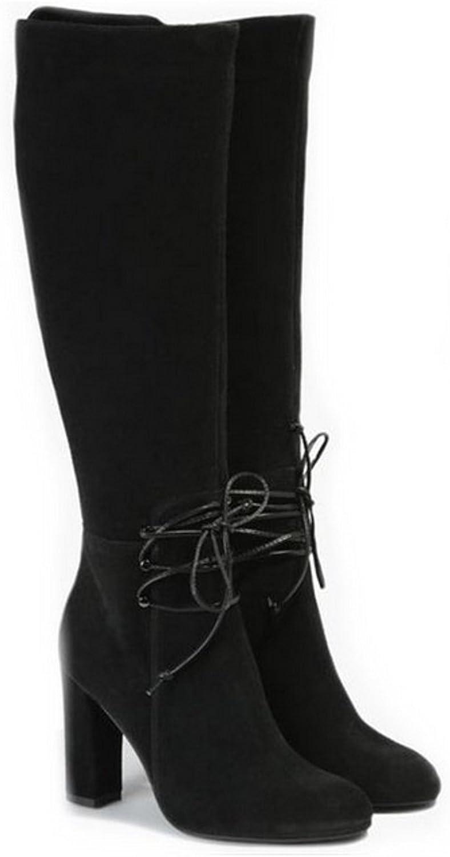 Badura Sehr Bequeme und Elegante Damen Lederstiefel Lederstiefel von der polnischen Marke Heel - Schwarz - Leder in der Mitte - Eine Neue polnische Marke  hohe qualität und schnelles verschiffen