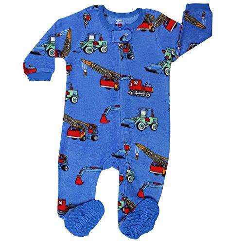 elowel | Schlafanzug | Jungen Pyjama | Babys, Kinder | Einteiler | Fleece, Flauschig | Strampler | 100% Polyester | Warm, Angehnem | Größe: 5 Jahre (110) | Design: Kräne | Farbe: Blau