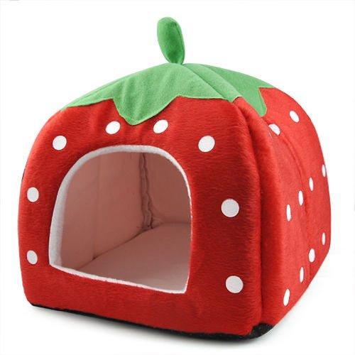 DcolorDoux fraise Animaux Igloo Chien Chat Lit Coussin Maison Kennel Chiot Panier Rouge- L