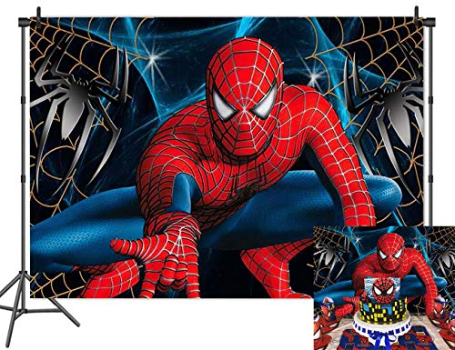Cartoon Superhero Spiderman Themed Photography Backdrops for Boys Kids Happy Birthday Party Photo Background Superhero Super City Decoration Banner Baby Shower Cake Table Studio Booth Props 5x3FT
