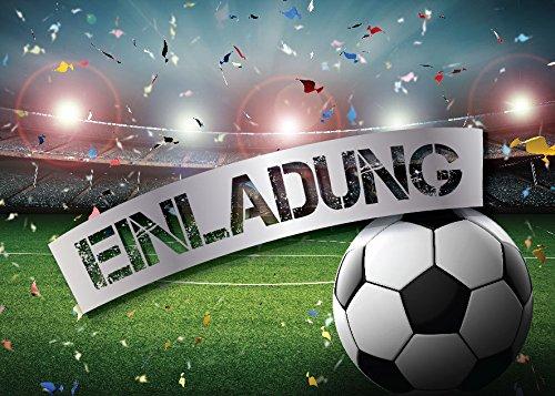 JuNa-Experten 12 Einladungskarten Kindergeburtstag Jungen Fussball Geburtstag Jungs Geburtstagseinladungen Einladungen Geburtstagsparty Kartenset
