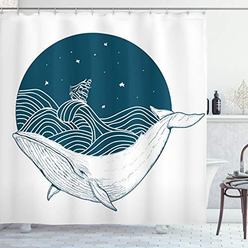 ABAKUHAUS Ozean Duschvorhang, Altes Schiff des Wals & der Sterne, mit 12 Ringe Set Wasserdicht Stielvoll Modern Farbfest & Schimmel Resistent, 175x180 cm, Weiß Teal
