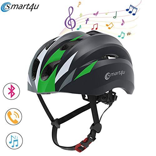 4U4 SH20 smart4u 2019 Bluetooth Musik-Helm Outdoor Radsport Smart-Fahrradhelm Racing Motorrad-Fahrrad-Helm Männer Frauen Wasserdicht,Schwarz,XL