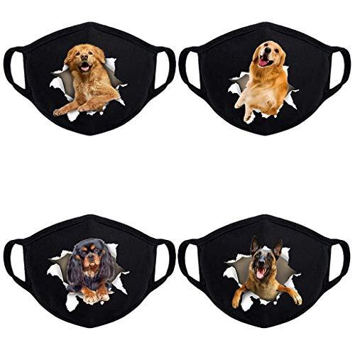 Nimizi Halstücher mit süßem Hundemotiv, wiederverwendbar, waschbar, für den Außenbereich, Staubdicht, Gesichtsschutz für Damen und Herren, 4 Stück