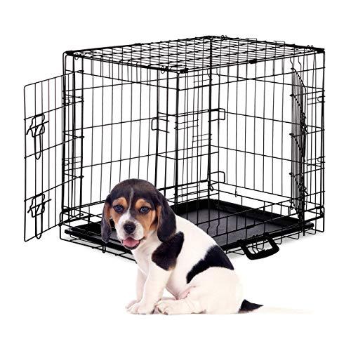 Relaxdays Hundekäfig, Faltbare Hundetransportbox Auto, Welpenkäfig, 2 Türen, Bodenschale, Drahtkäfig Metall, M, Schwarz