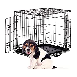 Relaxdays Dog Cage, Folding Transport Crate, Whelping Pen, 2 Doors, Floor Tray, Metal