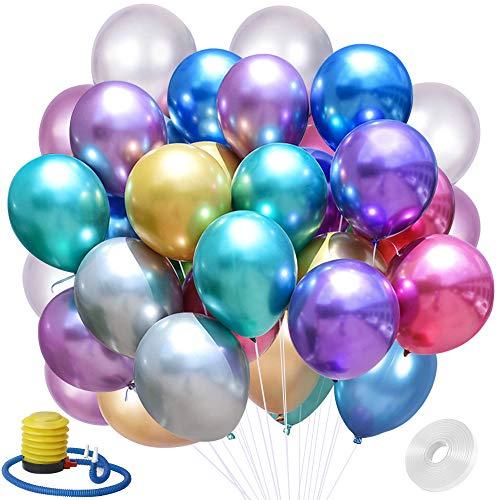 Globos Metálicos Brillantes, hicoosee Globos Metalizados Globos De Látex con Bomba y Cinta para Bodas, Fiestas de Cumpleaños, Bautizo de Bebe 50 Piezas