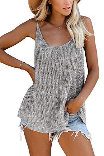 KINGFEN Streetwear Tops für Damen Sommer Kurzarm Shirt Rückenfreies Ärmellose Bluse Elegant Geripptes Top Spitzen Tops Frauen Grau XL 48-50