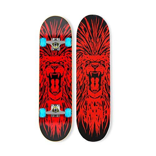 VByge Skateboard Jugend Anfänger Professionell Erwachsener Doppel Alice Penny Board Luminous Four Wheel Longboard Blitzrad Löwe 80x20cm