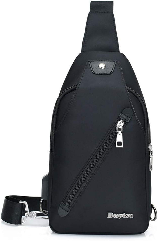 2018 Brusttasche männer Schulter USB Messenger Bag Casual Jugend Sport umhängetasche, schwarz B07L95YF7X