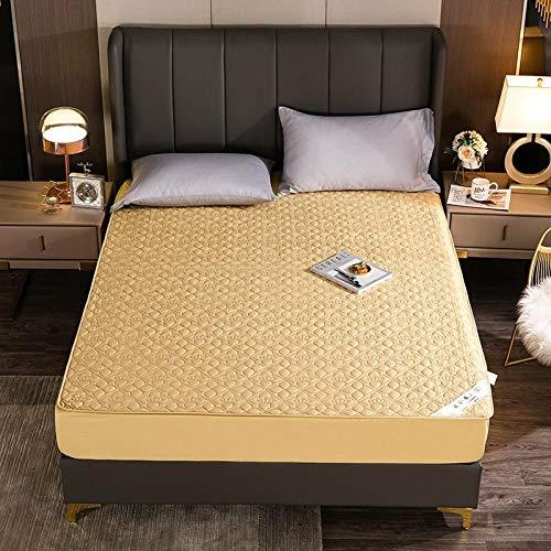 GTWOZNB Protector de colchón/Cubre colchón Acolchado, antiácaros, Sábana de algodón de Terciopelo Antideslizante-Camel_150 * 200cm