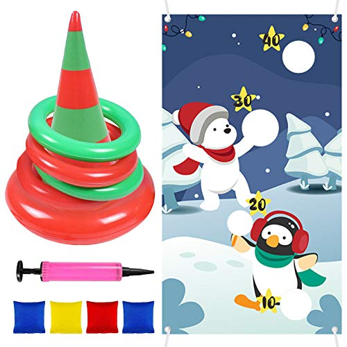 Migaven Christmas Games, 12 PCS Christmas Carnival Game Snowman Bean Bag Banner Cone Hat Rings Toss Games Combo Set for Kids Adults Xmas Party Supplies