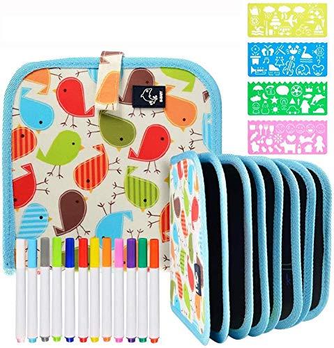 Portatile da Disegno per Bambini,Doodle Disegno Giocattoli per Bambini con 12 Colorati Penna Precoce Apprendimento Educativo Graffiti Disegno Tappetino,Reuseful Lavabile