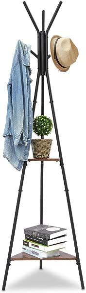 KingSo Coat Rack Hall Tree Standing Coat Tree Hat Hanger Holder With 6 Hooks 2 Shelves For Bedroom Office Hallway Entryway