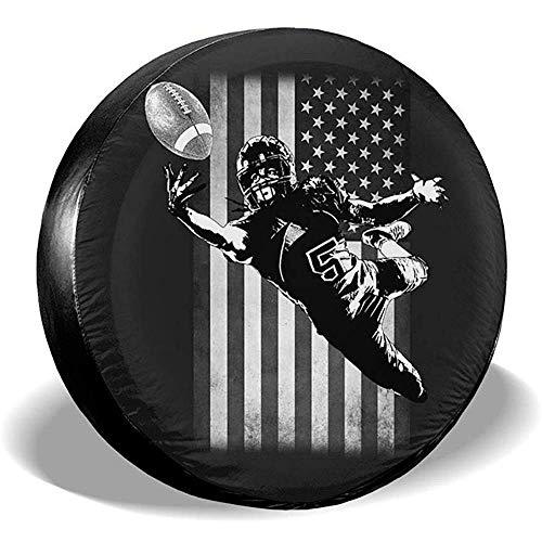 Kay Stowe Football Player Catch USA Flag Reserveradabdeckung Wasserdicht Staubdicht Fit für 14 '-17' Zoll