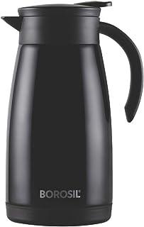 Borosil - FLKT1LBLK14 Stainless Steel Teapot Flask, 1 Litre, Black