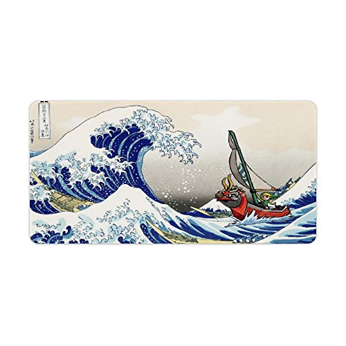 Mouse pad,Link,The Great Wave Off Kanagawa,Legend of Zelda The Wind Waker,Large Gaming Mouse Mat,Desk Mat,Waterproof Skid Proof Stitched Edges Mousepad,Perfect for Video Games,60x30cm,24x12 inch