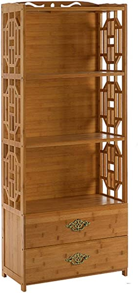 DULPLAY 复古实木书柜带门易组装开架多功能落地式简易收纳架家居装饰 C 42x29x 130厘米 17x11x 51英寸