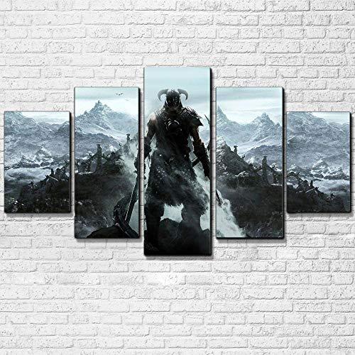 runtooer Bilder Dekorative Malerei Spray Malerei Leinwand Malerei 5 Stück Modern Skyrim Leinwand Wandbild, Möbel Art Deco, Rahmen