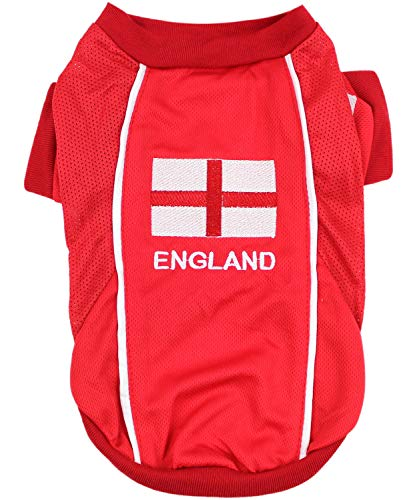 Parisian Pet Dog Team England Jersey Soccer Olympic Small to Medium Dogs and Cats, L