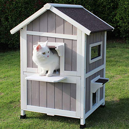 ROCKEVER Feral Cat Shelter Outdoor with Escape Door Rainproof Outside Cat House Two Story for Three-Four Cats with Two Mat Color Grey