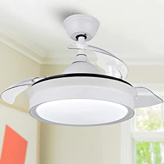 42 Inch Modern Retractable Ceiling Fan, CCT Dimmable LED...