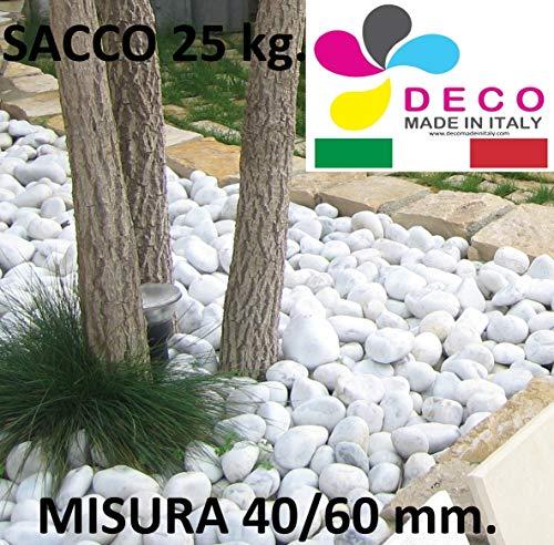 CIOTTOLI di Marmo Bianco Carrara in (Sacco 25 kg) Diametro 40-60, Pietra Bianca per Giardino