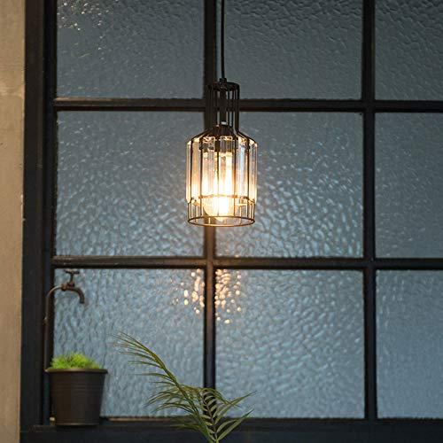 1-LIGHT CRISTAL PENDIENTE LIGHT METAL CAGE Lámpara colgante E27 Luces de techo modernas, Accesorios de iluminación de la suspensión de vidrio para la isla de la cocina Barra de comedor de la isla