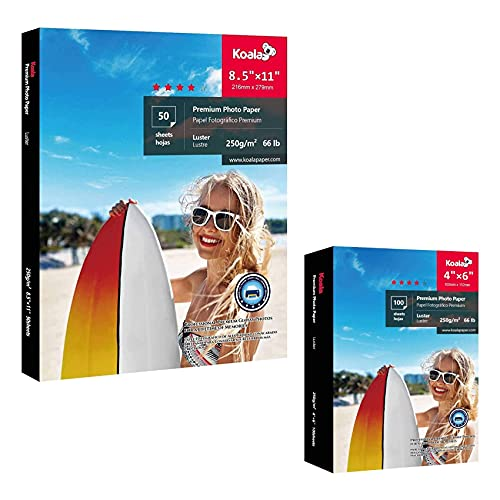 Koala Premium Luster Photo Paper Letter 8.5x11 Inch 50 Sheets and 4x6 Inch 50 Sheets, 66lb for Inkjet Printers