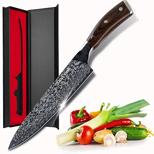 SanCook Küchenmesser Kochmesser 20cm Profi Messer Chefmesser Gemüsemesser Allzweckmesser aus Hochwertigem Carbon Deutsch EN1. 4116 Edelstahl mit Scharfer Klinge und...