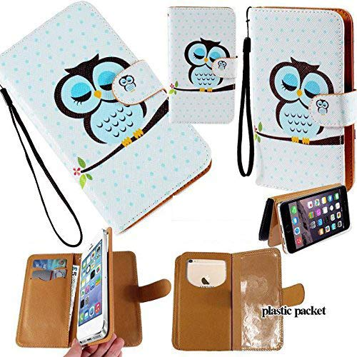 Universal PU Leather Strap Case/Purse/Clutch Fits Apple Samsung LG etc. Owl in A Nap -Large. Magic Sticker Attaches Phone to Wallet. Strong Adhesive/Easy Remove. Fits Models Below: