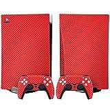 YWZQ Etiqueta engomada de la Piel de Fibra de Carbono para Playstation 5 PS5 Consola y 2 Controladores Protector de la calcomanía de Vinilo Piel de la Cubierta para el Disco PS5,Rojo