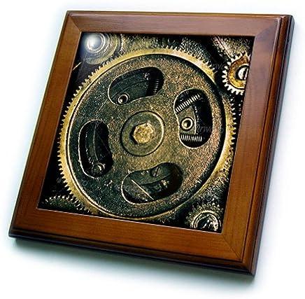 精神 awakenings-patterns–蒸汽朋克齿轮 IN 青铜逼真趣味外观艺术–框架瓷砖