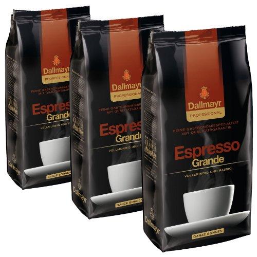 Dallmayr Professional Espresso Grande Bohnenkaffee, Röstkaffee, Kaffee, ganze Bohnen, 3 x 1000 g