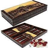 PrimoLiving Deluxe Set de Backgammon en Bois GALATA au Format XXL 50x50 cm jaquet Jeux