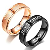 Blowin His Angel Relationship Ring Stainless Steel Engagement Wedding Band for Women (Her Size 7)