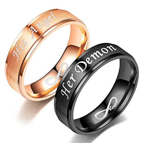 Blowin His Angel Relationship Ring Stainless Steel Engagement Wedding Band for Women (Her Size 9)