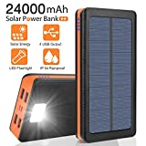 Solar Charger 24000mAh Portable Solar Power Bank External Backup Battery, 4 Outputs-5V/2.1A &2 Inputs Huge Capacity Phone Charger, IPX5 Rainproof Bright LED Flashlights for Camping, Travel, Emergency