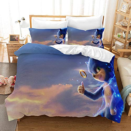Hbvvaceo King Comforter Cover 3D Anime theme characters Bedding Sets with Zipper Closure 3 Pieces Kids Bedding Printed Duvet Cover for Boys, Teens 240 x 220 cm Children's bedding set-baby bedding set