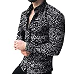 Men's Casual Hawaii Floral Printed Shirts Loose Long Sleeve Button Lapel T-Shirt Fashion Top Blouse