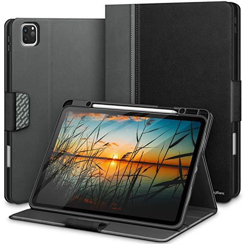 Kingblanc iPad Pro 12.9 Zoll 2020/2018 Hülle mit Stifthalter für Apple Pencil 2. Generation, Auto Schlaf/Wach Funktion, Smart PU Leder Folio Cover Case für iPad Pro 12.9' 4. Gen/3. Gen (Schwarz)