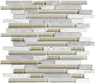 10 Sq Ft - Bliss Creme Brulee Stone and Glass Linear Mosaic Tiles - bathroom walls/ kitchen backsplash