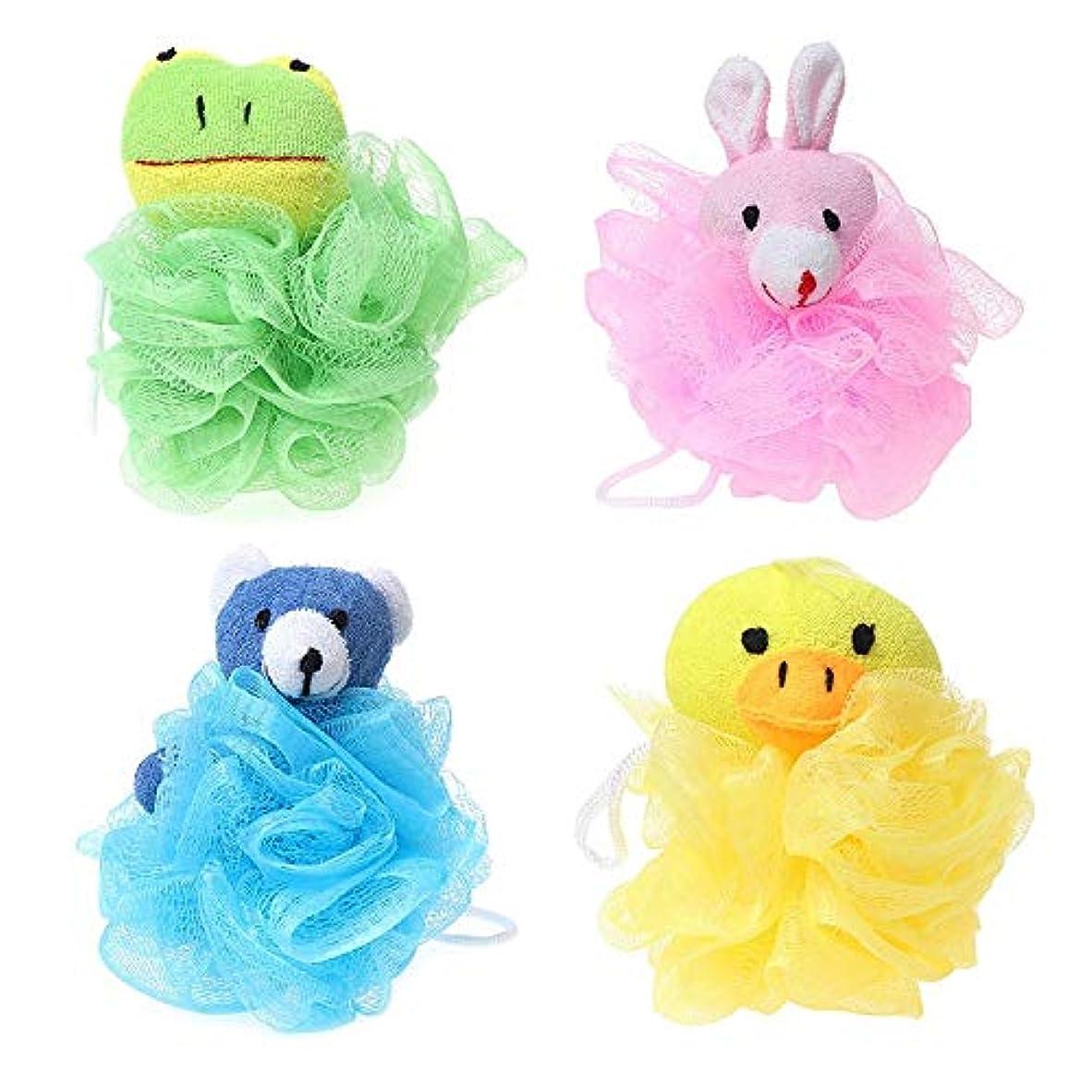 アカデミー師匠ぺディカブNrpfell 子供用おもちゃクッションパフメッシュぬいぐるみ付き(4パック)カエル、アヒル、ウサギ、クマ